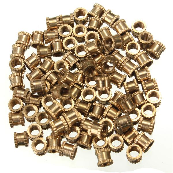 Special Offer 100pcs/lot Brass Knurl Nuts M3 4mm(L)-4mm(OD) Metric Threaded Nuts Insert Round Shape(China (Mainland))