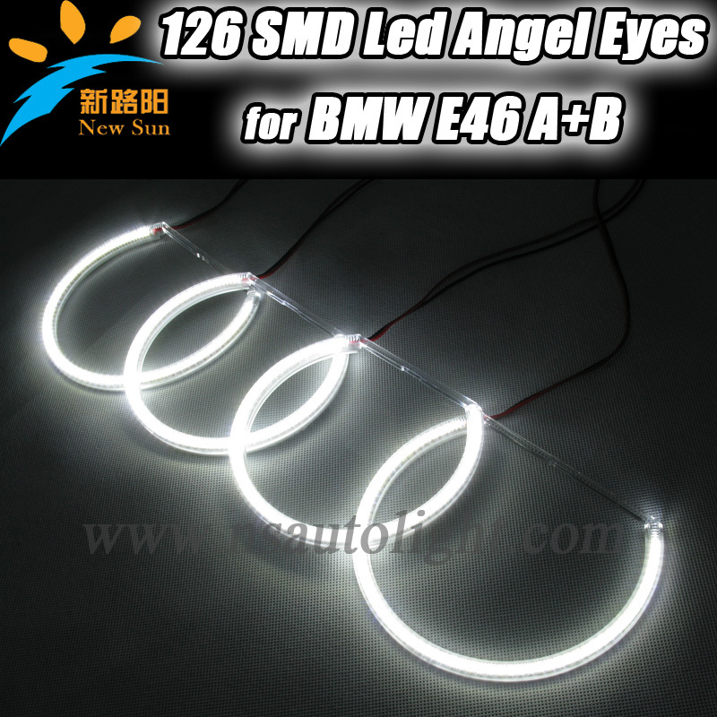 Free Shipping led angel eyes kits,8000k Super white led halo rings kits for BMW E46 Non projector<br><br>Aliexpress