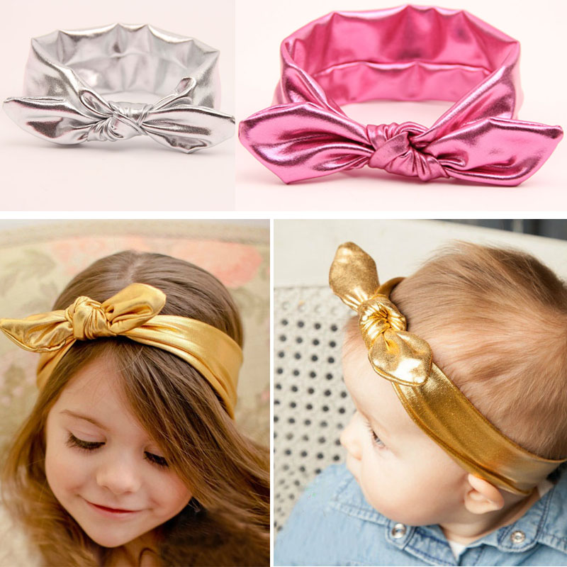 Luxury 2015 New Baby Girls Toddler Elastic Stretch Rabbit Ear Turban Knot Bow Hairband Headband For Baby Kids Accessory(China (Mainland))