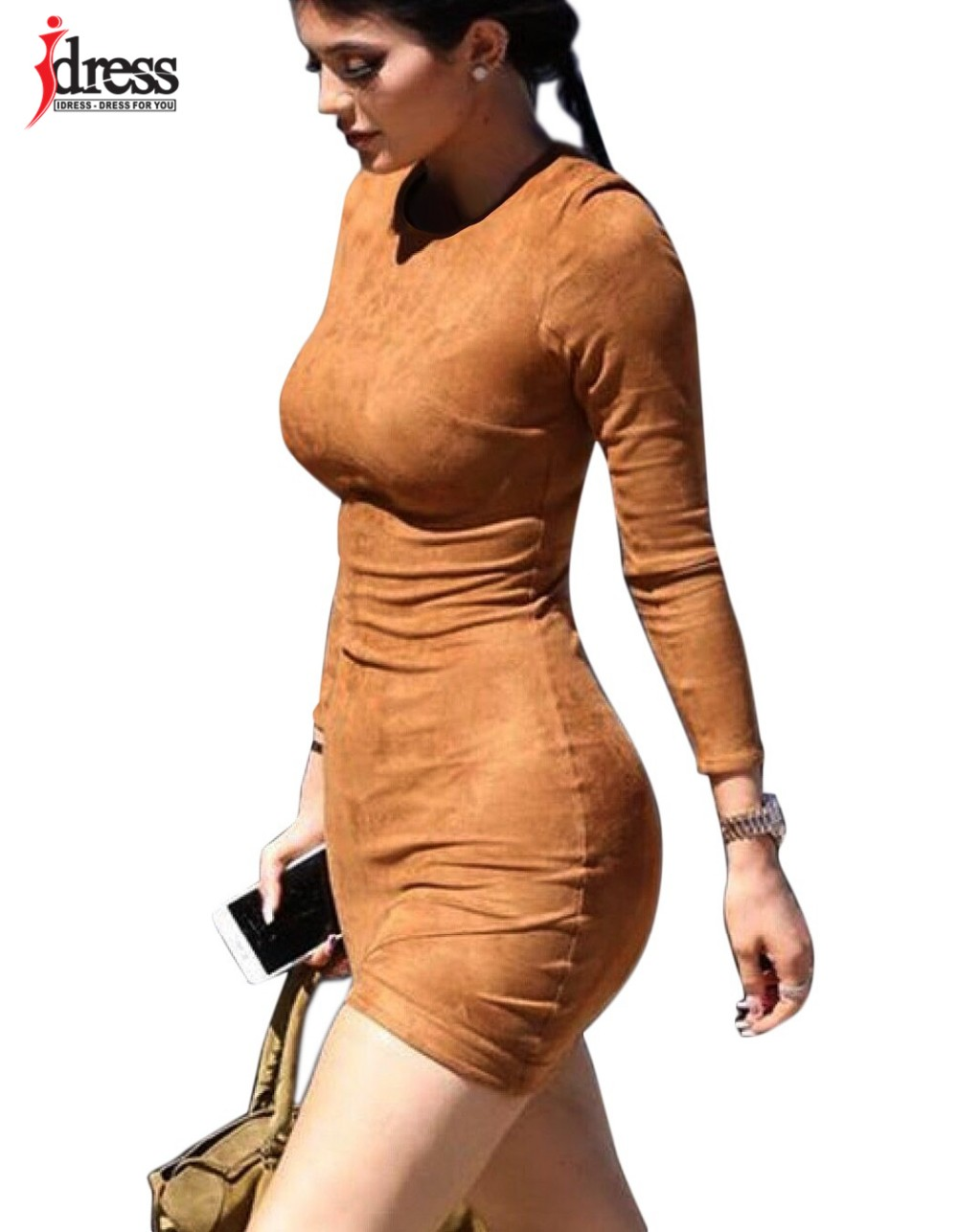 IDress 2016 Grey Brown Faux Suede Dress Bodycon Party Dresses Women Clothing Sexy Club Bandage Long Sleeve Autumn Dress Plus Size (10)