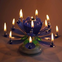 Navy-Blue Rotatable Beautiful Musical Blossom Lotus Flower Birthday Candle Gifts For Friends And Relatives Hot Sale