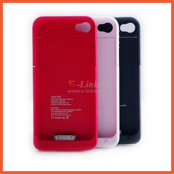 Free Shipping,1900mah Extra Battery Case For Iphone4/4S External Power Case, 11 ColorsFactory Supply(China (Mainland))