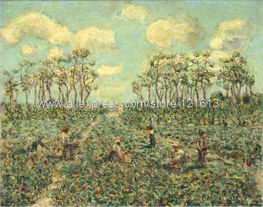 Ernest Lawson Tomato Patch Florida Farm Labourers Hand Painted Black White Canvas Art Paintings For Living Roo(China (Mainland))