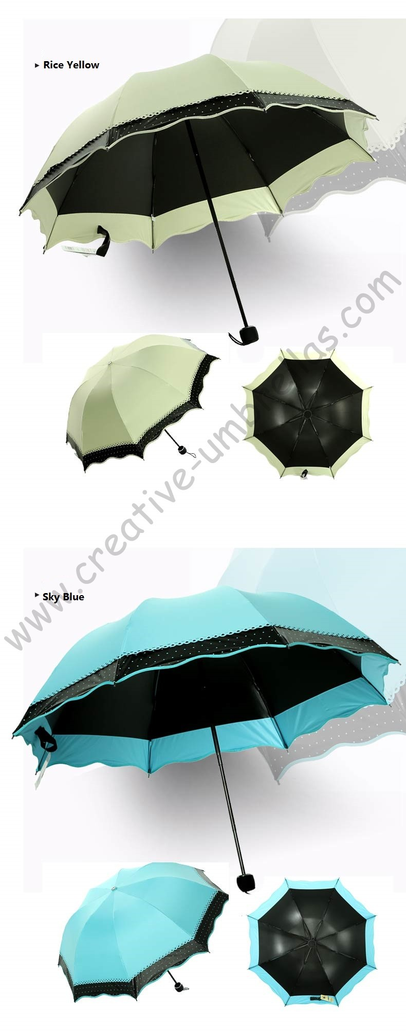 3pc/lot colour option summer folding mini sunny umbrella 5 times black  coating Anti-UV fruit green two layers lace parasol - us608