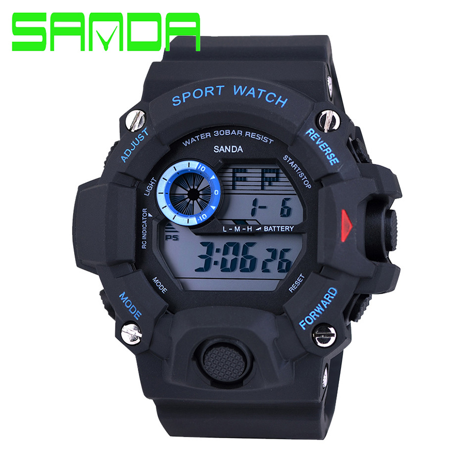 SANDA 326 Electronics Watches Men Cheap Waterproof Watch Sports Military Watches Men's Digital 2GMT Luminous Watch montre sport(China (Mainland))