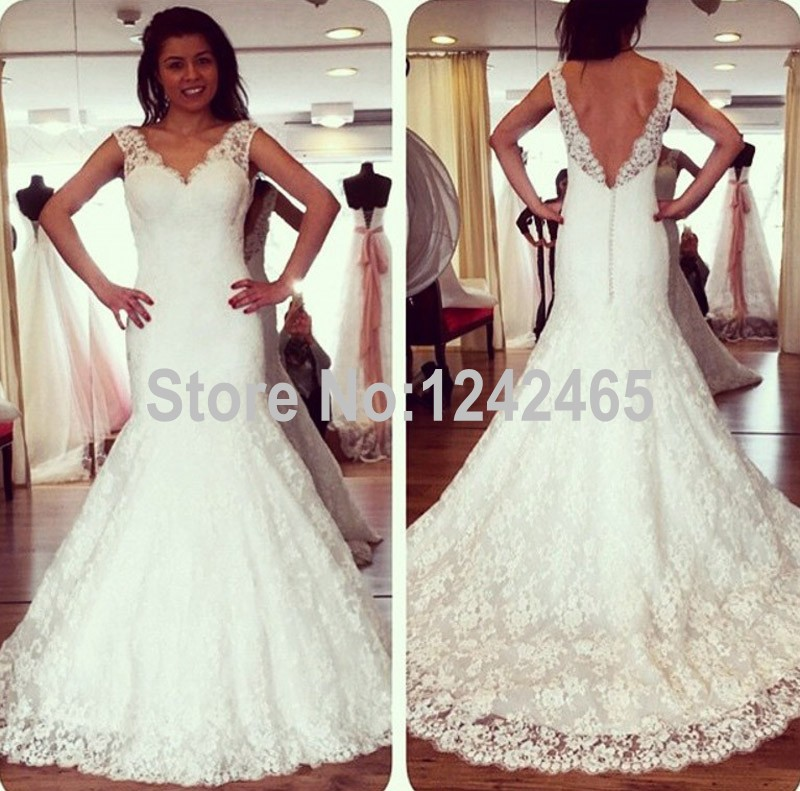 Fishtail Wedding Dress With Train : Fishtail v neck latest western wedding dress patterns sweep train sexy