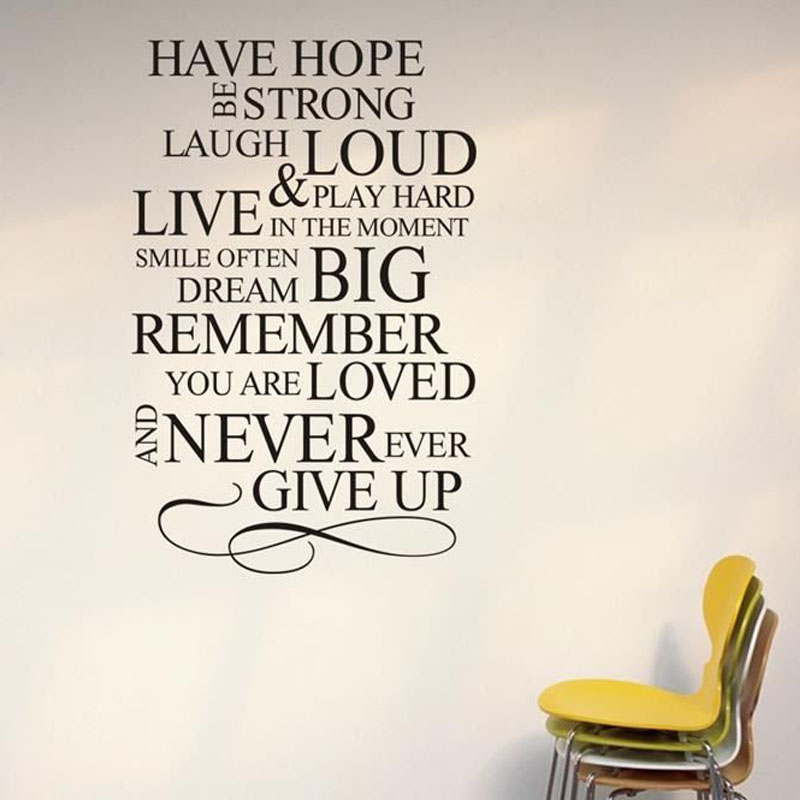 Never Ever Give Up Inspiring Sayings Wall Stickers Vinyl Removable DIY Home Decor Living Room