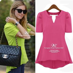 2013 spring and summer short-sleeve fashion green chiffon shirt chiffon medium-long top candy color