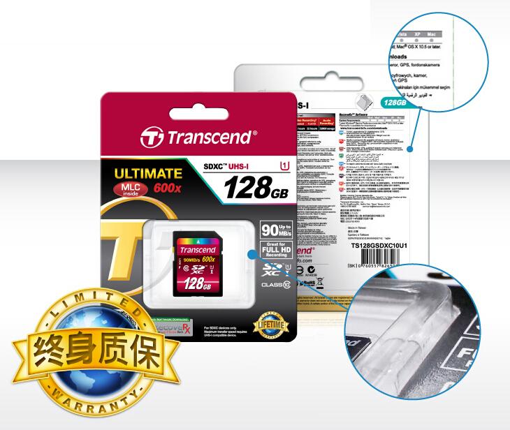 MLC nand 90M/S 100% Authentic Transcend 600X 16GB 32GB 64GB SDHC SDXC Card class 10 UHS-1 sd Memory Card