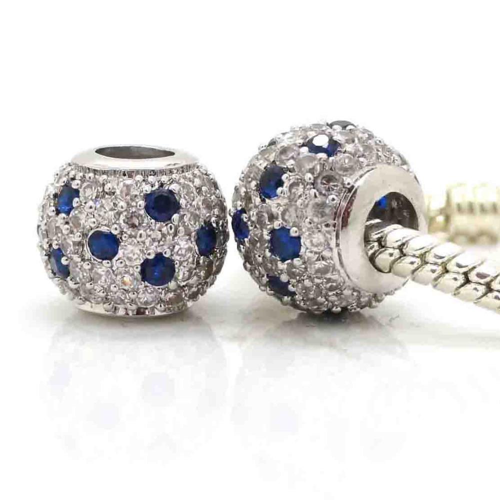 Pave Sapphire CZ Zircon Ball Charm European Beads Authentic 925 Silver Beads Fits Pandora Style Charm Bracelets & Bangles(China (Mainland))