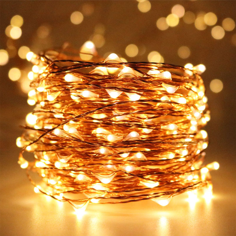 30M 300LED 99ft Long LED Copper Wire Starry String Lights,Outdoor Christmas Fairy Light Warm White Strings for Holiday Wedding