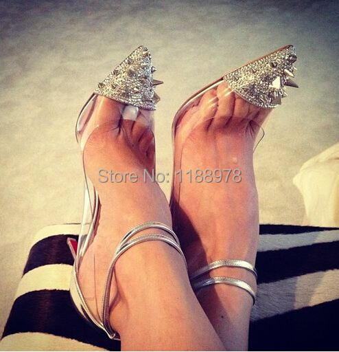 Fashion Crystal High Heel Wedding Shoes White Rhinestone Red ...