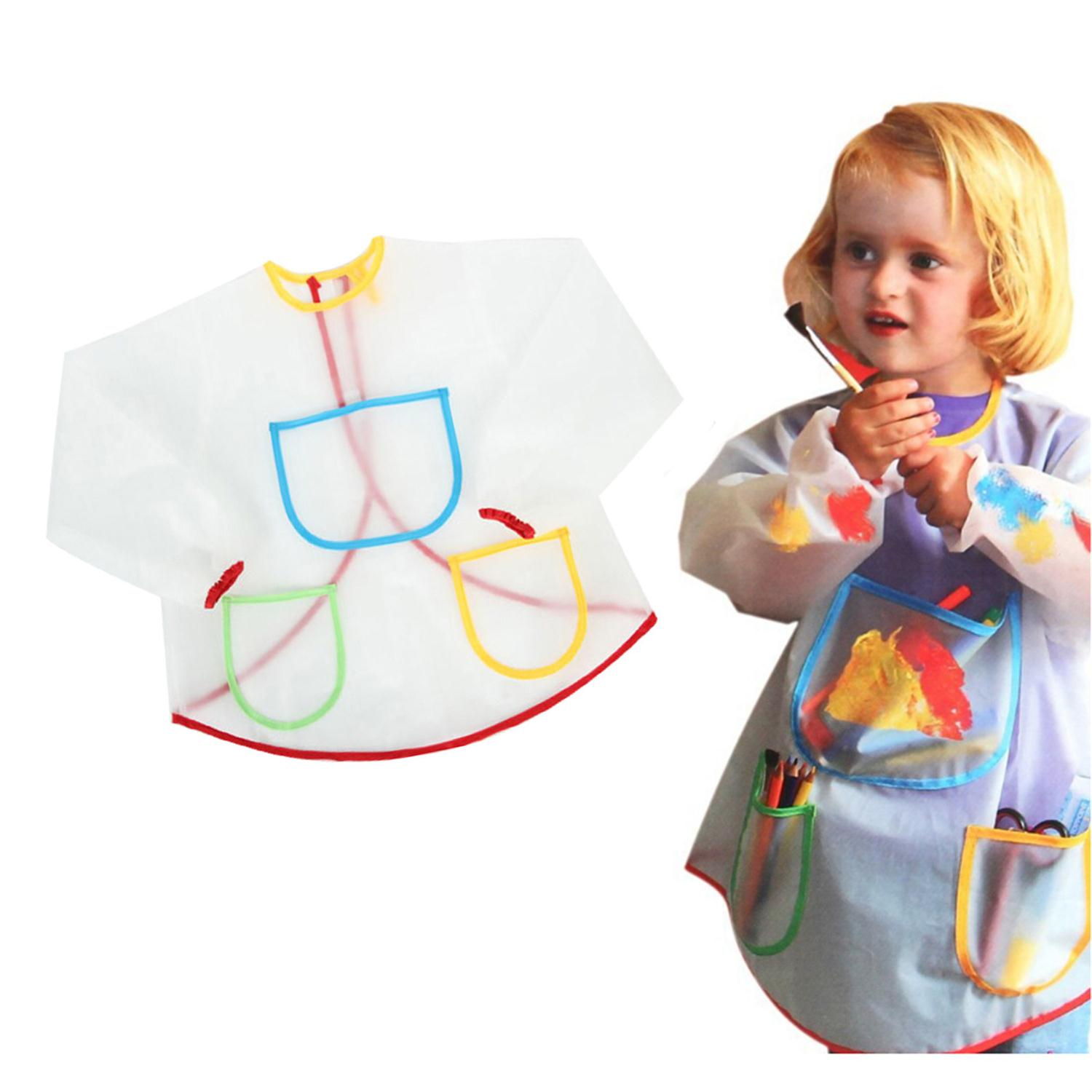 Multifunctional Kids Baby Apron Smock with 3 Pockets Painting Drawing Kids Home Apron Anti-Wear Waterproof Costume Crafts LW154(China (Mainland))