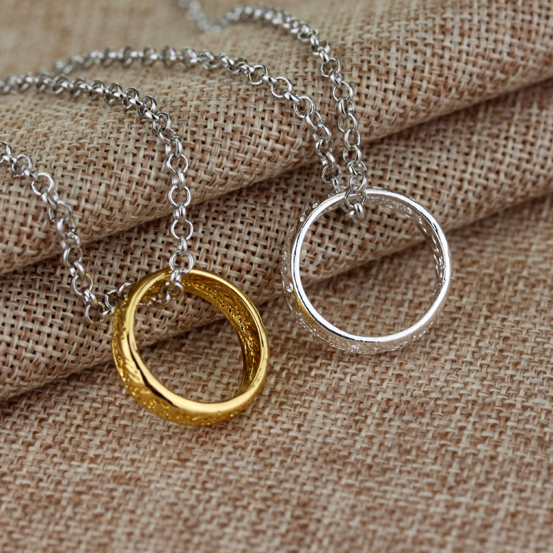 Movie Theme Gold And Silver Color Ring Pendant Collar Movie Lord Ring Jewelry Colar Party Jewellery The Lord Ring Collier(China (Mainland))