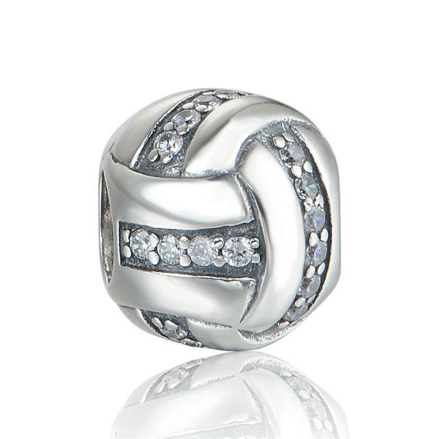 925 - серебристо-ювелирные бусины волейбол с камнями бусины Fit Chamilia пандора браслеты серебро 925 мода DIY