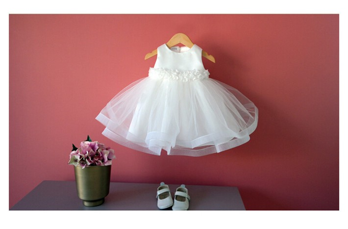 Скидки на ДЕТСКИЕ WOW Девочка Свадебное Платье Крещение Девочка Крещение Платья Дешевые Цветочница Платье для Детская Одежда 8026