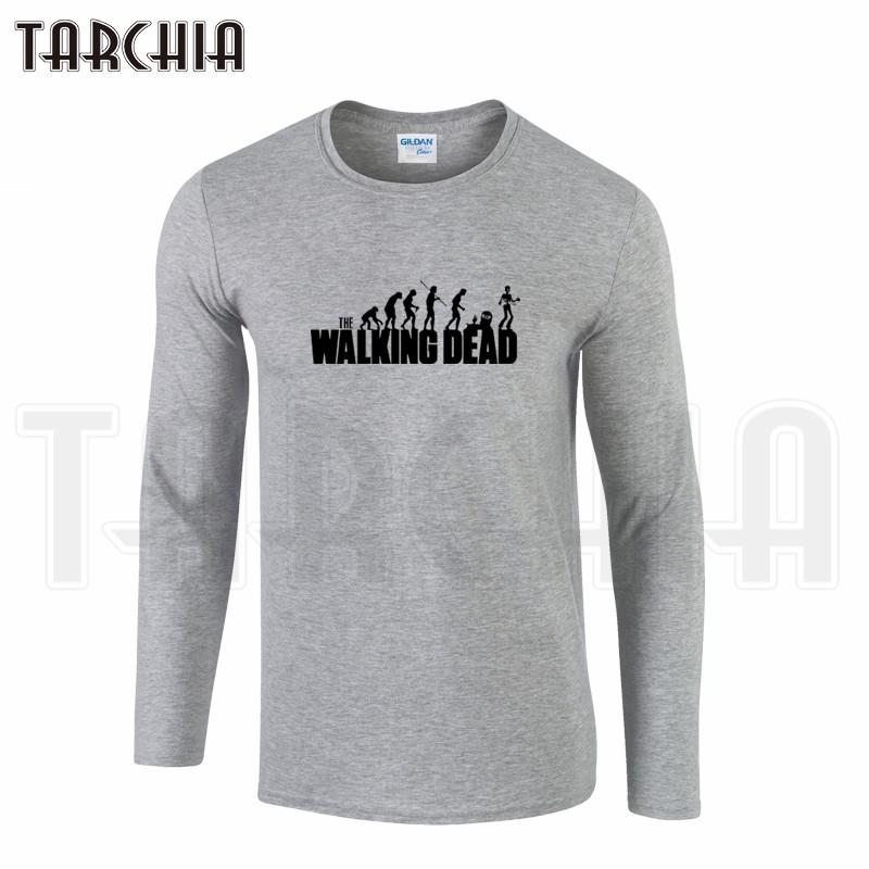 TARCHIIA Brand Eur Size Free Shipping Long Sleeve Men Tee The Walking Dead Men's T-Shirt 100% Cotton Plus Size Homme Boy Wear  HTB1dGloKpXXXXcxXVXXq6xXFXXXY
