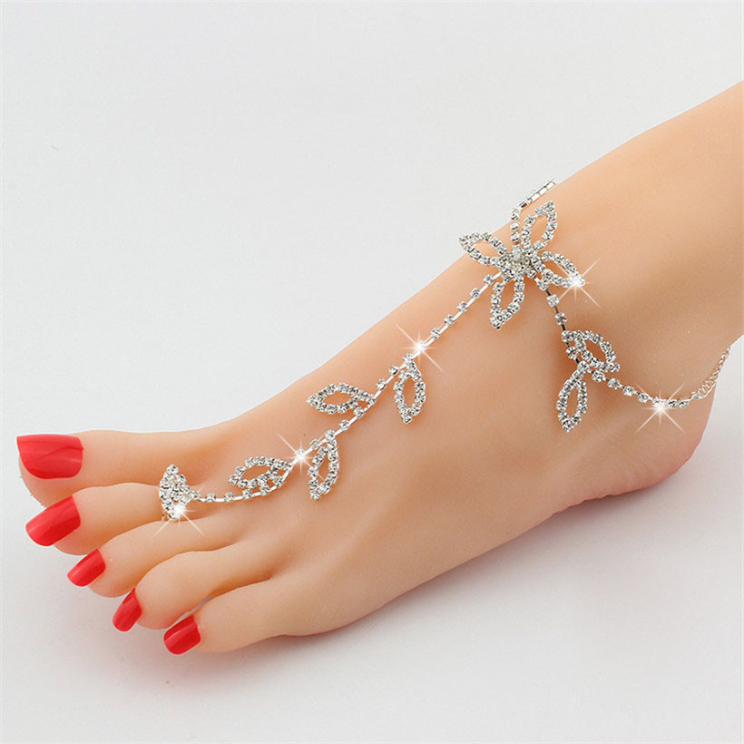 2016 new rhinestone anklet for women gift wholesale silver ...