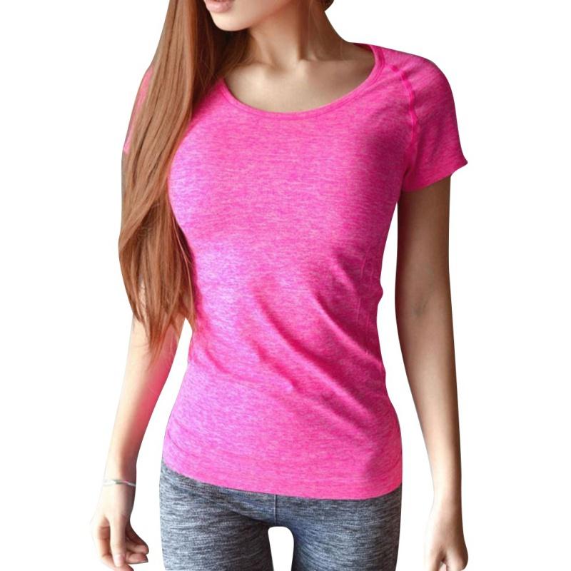 Женщины быстрое высыхание спорт топ бег fitness gym мягкий дышащий футболка gy69