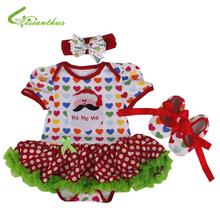 Baby Girls Christmas Costumes Romper Dress + Headband + Shoes Clothing Sets New Year Party Clothes Bebe Princess Free Drop Ship(China (Mainland))