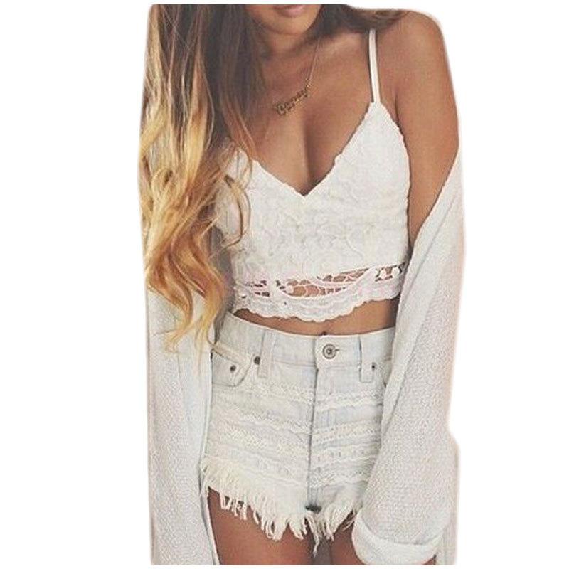 Hot Sale 2015 Summer Sexy Deep V Neck Halter Crochet Top Sleeveless Women Lace Crochet Crop Top Hollow Lace Camisole Vest(China (Mainland))