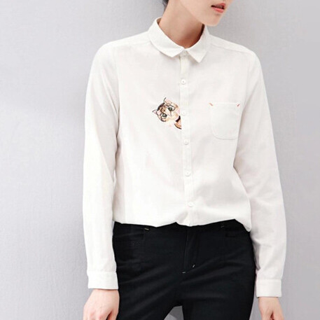 S-XL Mori Girl Solid Color Embroidery Kitty Blouse Fall 2014 Long Sleeve Cotton Shirts Preppy Style Clothing 6131#(China (Mainland))