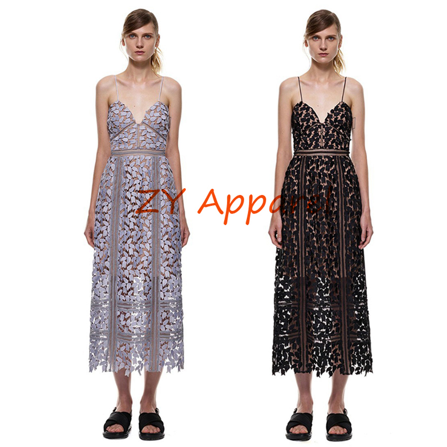 Vestidos 2016 Hollow Out Runway self portrait Azaelea Midi Dress In Textured In lace Strappy Strap dresses Free Shipping
