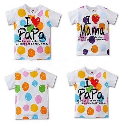 2015 New I Love Papa and Mama Baby Kids Girls Boys Dot Color Painted Tops shirt 2-7Y(China (Mainland))