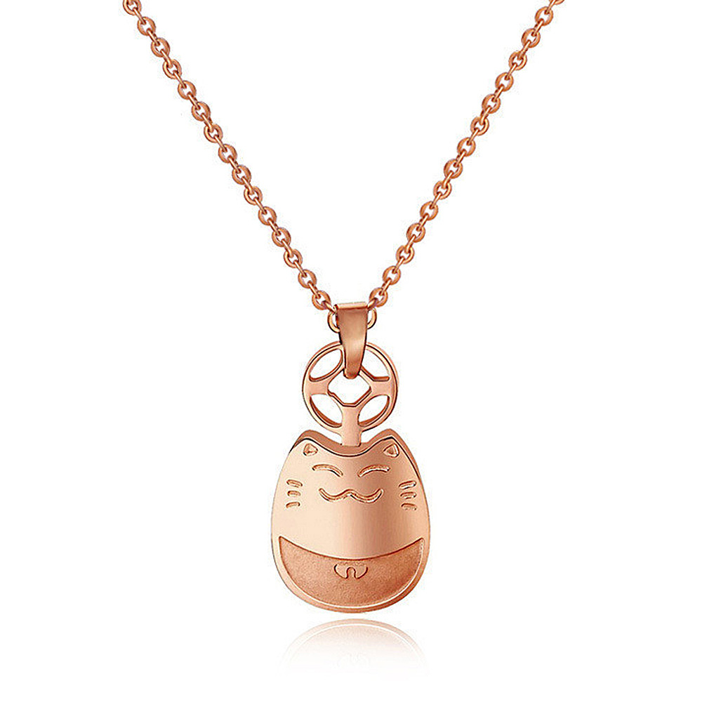 Best Selling Smiling Lucky Totoro BRING YOU GOOD LUCK Cute Pendant Rose Gold Plated Stainless Steel Necklace For Woman GG476(China (Mainland))
