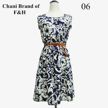 New F&H 2015 Spring Hot Casual Fashion plus size Work women's vestido party dress + belt Flower prints vestidos dresses nz18(China (Mainland))
