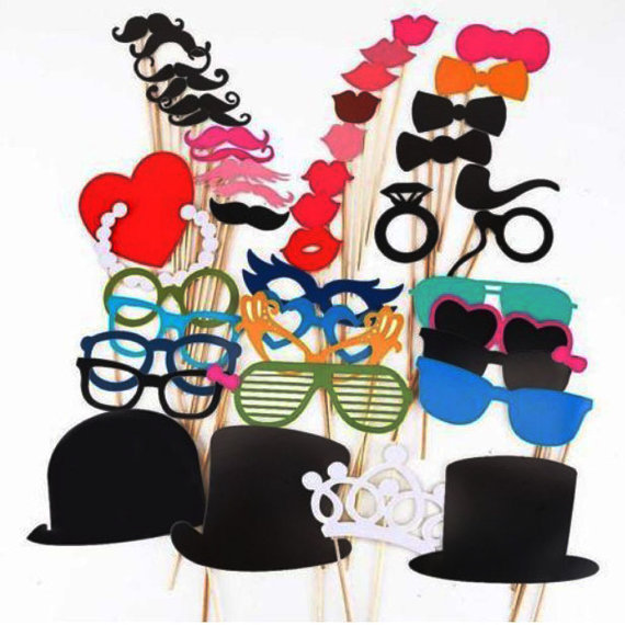 1Set of 44pcs Photo Booth Props Glasses Mustache Lip On A Stick Wedding Decoration Birthday Party Fun Favor 347D(China (Mainland))