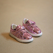 2016 spring autumn kids fashion sneakers PU girls patent leather shoes boys brand shoes children sneakers running shoes platfrom(China (Mainland))