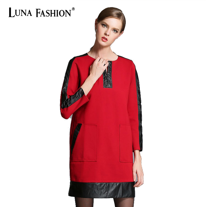 5XL 4XL 3XL 2XL vestidos mujer 2015 autumn PU patchwork long sleeve elegant fashion red t shirt dress women XXXXXL XXXL
