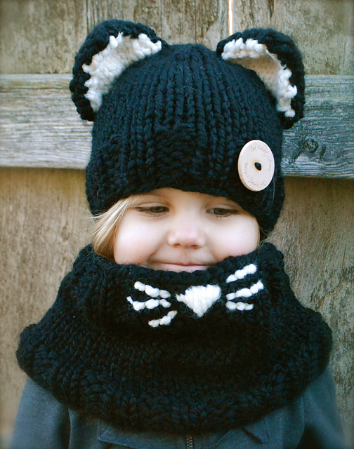 New arrival Winter Children Crochet Hooded Cat Cowl Caps Neck Wrap Scarf Knitted Collar Baby scarf and hat echarpe bonnet set(China (Mainland))