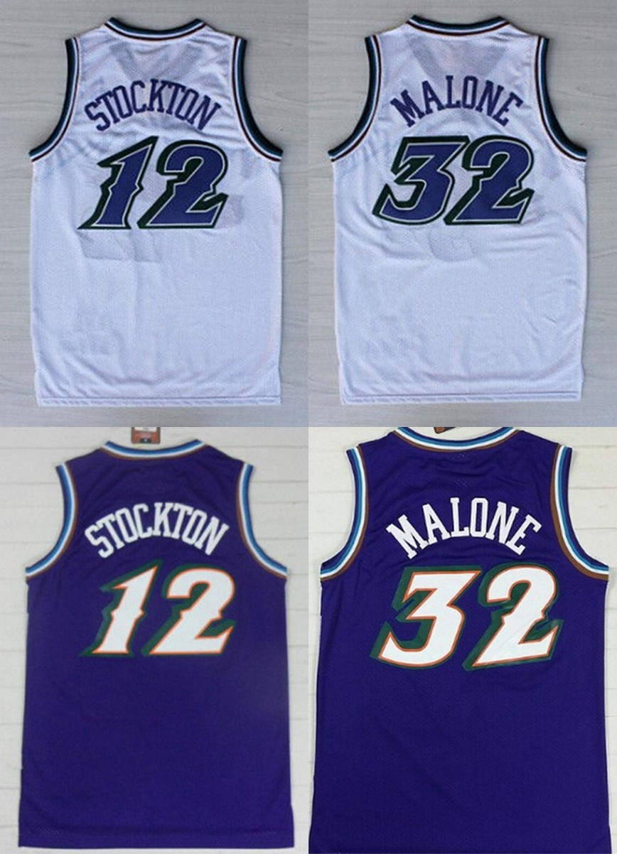Cheap #32 Karl Malone jersey 12 John Stockton Purple White Color throwback Basketball Jersey Embroidery Logos(China (Mainland))