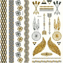 Cool Tattoo Stickers Stencils For Painting Body Art Temporary Waterproof Glitter Metal Golden Crown Lotus Loves