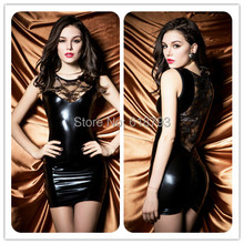 2015 new Sexy party dresses female black Patent leather dress ACC03(China (Mainland))