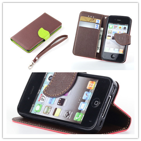Last 3 days big discount Phone Accessories leather holster cover for iPhone 4s 4 with wallet bag credit card slot and stand(China (Mainland))