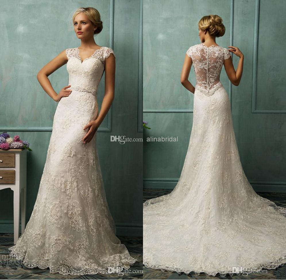 2014 Vintage Wedding Dresses Mermaid Long Lace Wedding Dress White V Neck Short Capped Sleeve