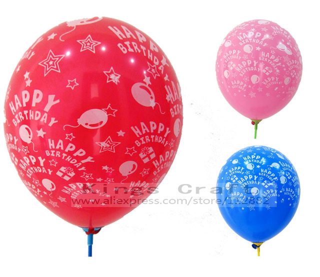 12 Inch Printed Happy Birthday Pattern Latex Balloons For Birthday Party Decoration Mixed Color Free Shipping