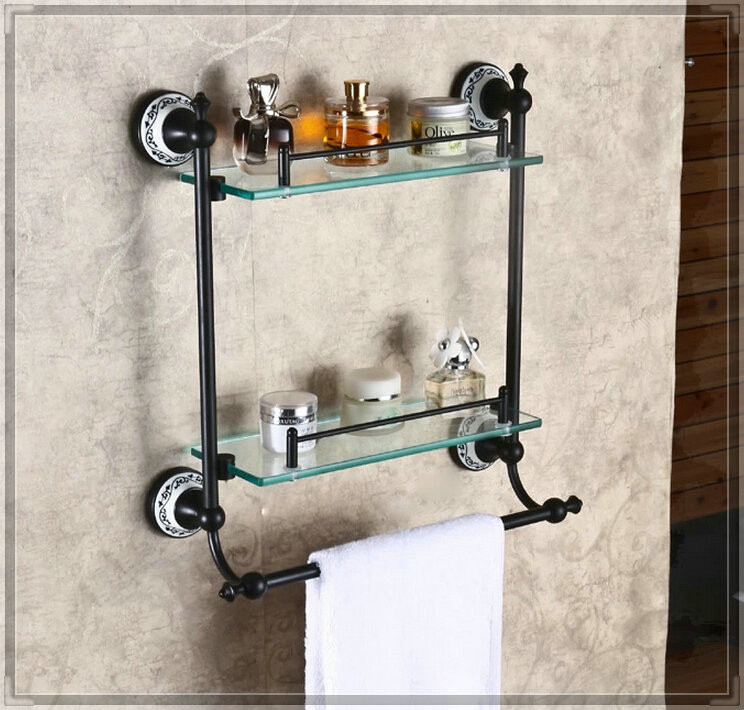 Wall Mounted Dual Tier Bathroom Glass Shelf Oil Rubbed Bronze Storage Holder Touch Faucet In
