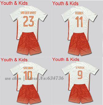 NEW SEASON 2015 V PERSIE SNEIJDER ROBBEN Kids Teens 3A +++ best quality 15/16 Netherlandes soccer jerseys kits free customizable(China (Mainland))