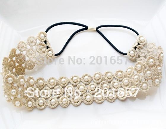 Romantic pearl 3cm Lace elastic headband for hair Wholesale fashion bohemian lace with pearl handmade elastic hairband headband(China (Mainland))