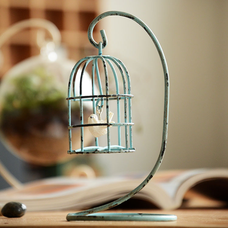 Free Shipping (2pcs/lot)Originality Home Furnishing Decoration Iron Countryside Style Old Results Cage Decoration(China (Mainland))