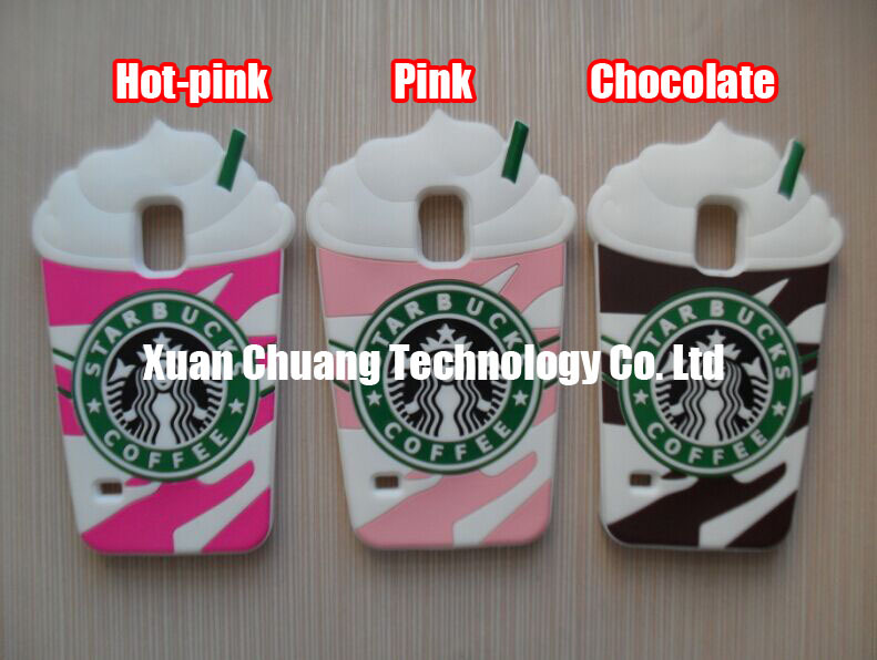 3D Cute Starbuck Coffee Cup Silicon Shields Armors Cases Covers Skins Housings for Samsung Galaxy S5 i9600 with Freeshipping(China (Mainland))