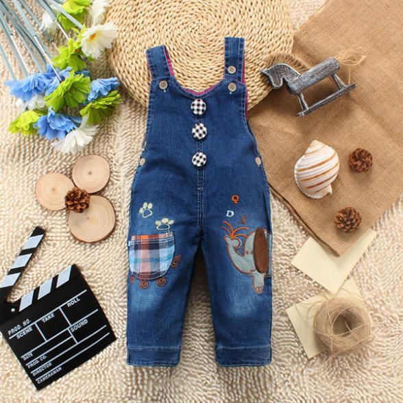 0-3Y Baby Kids Unisex Jeans Denim Jumpsuit Pants Animal Cartoon Bib Romper(China (Mainland))