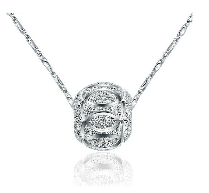 Real Pure 925 Sterling Silver Jewelry Pendant Necklaces,Fine Silver Disco Ball Necklaces Pendant FOR women(China (Mainland))