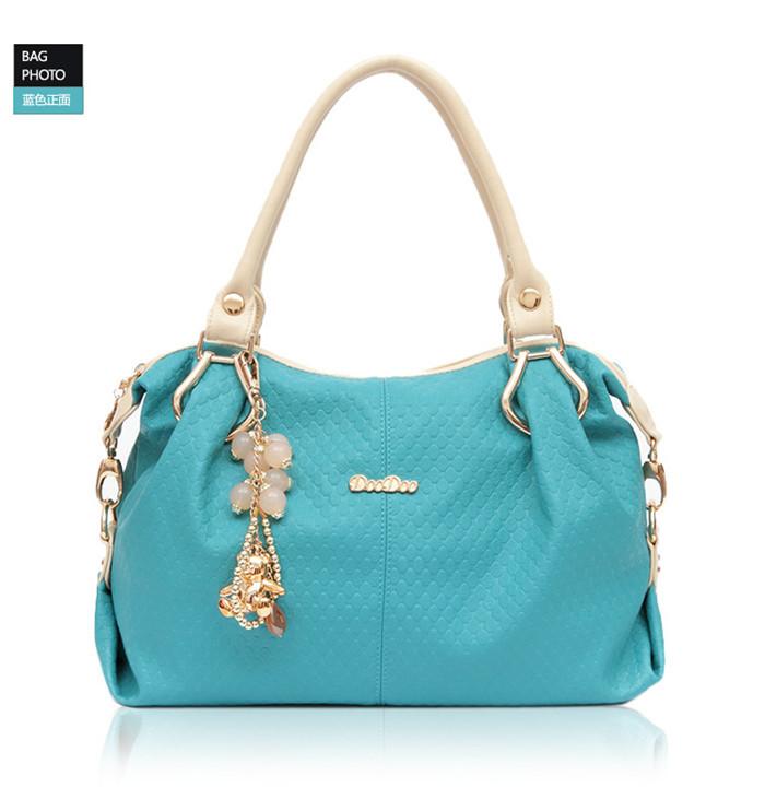 new woman DOODOO handbag PU leather Fashion Beautiful women Beaded accesories Inclined shoulder bag 2015 women messenger bags(China (Mainland))