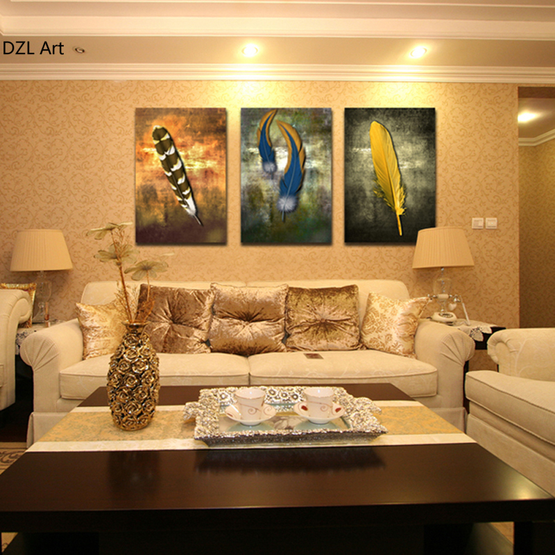 3 Panels Beautiful Feathers Painting Canvas Wall Art Picture Home Decoration Living Room Canvas