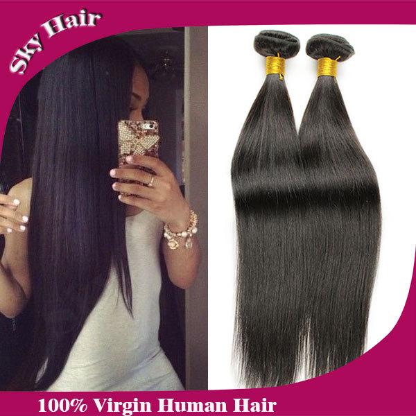 6a malaysian straight virgin hair 4pcs lot 100g/3.5oz sky hair unprocessed human hair weaves wholesale price malaysian straight(China (Mainland))